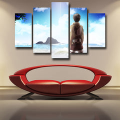 ATTACK ON TITAN - EREN DREAM OF OUTSIDE THE WALL 5 PANEL WALL CANVAS - 3D PRINTED CANVAS