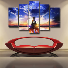 Shingeki No Kyojin Eren Dream Of Outside the Wall  3D Printed 5 Piece Wall Canvas
