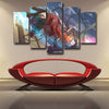 Image of ATTACK ON TITAN - EREN 5 PANEL WALL CANVAS - 3D PRINTED CANVAS