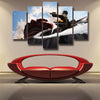 Image of ATTACK ON TITAN - EREN AND COLOSSAL TITAN WALL ATTACK 5 PANEL WALL CANVAS - 3D PRINTED CANVAS