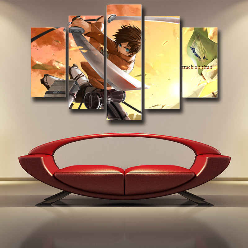 Attack on Titan Eren Survey Corps 3D Printed 5 Piece Wall Canvas