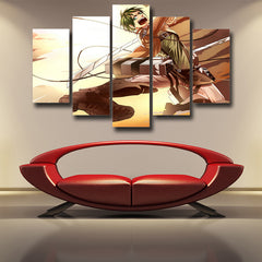 Attack on Titan Eren Attack 3D Printed 5 Piece Wall Canvas
