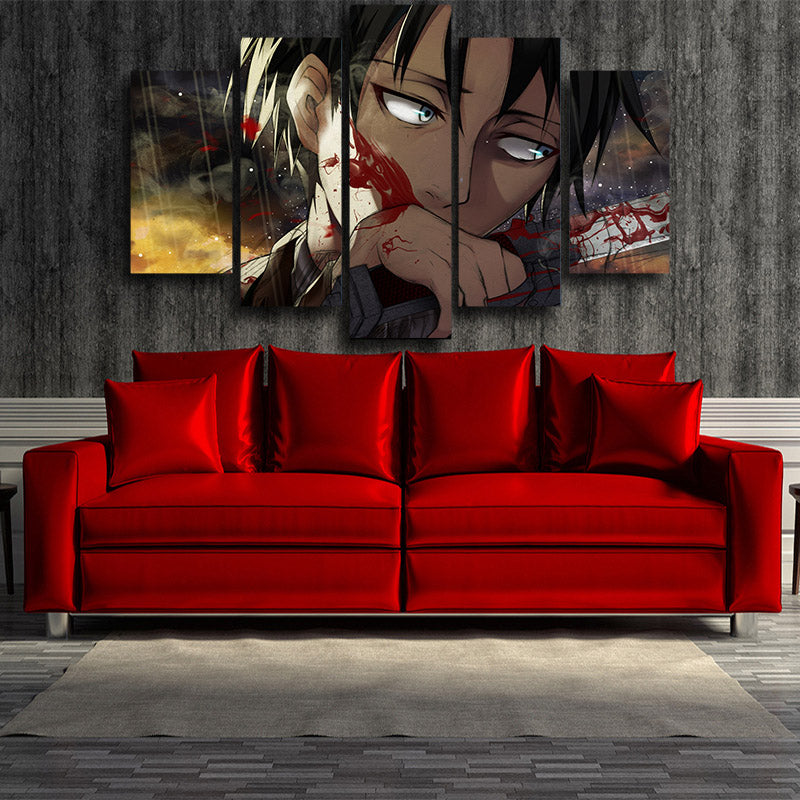 Attack on Titan Eren Blood Sword 3D Printed 5 Panel Wall Canvas