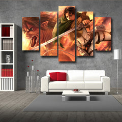 Attack on Titan Eren Titan Form And Captain Levi 3D Printed 5 Piece Wall Canvas
