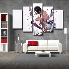Attack On Titan Mikasa 3D Printed 5 Piece Wall Canvas
