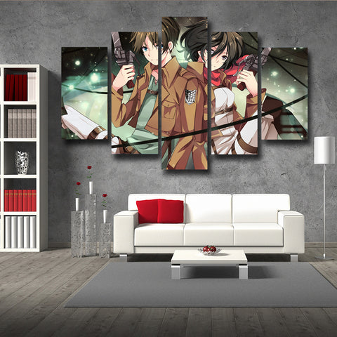 Attack On Titan Eren Yeager And Mikasa Ackerman 3D Printed 5 Piece Wall Canvas