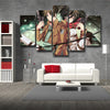 Image of Attack On Titan Eren Yeager And Mikasa Ackerman 3D Printed 5 Piece Wall Canvas