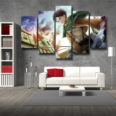 Attack On Titan Captain Levi 3D Maneuver Gear 3D Printed 5 Piece Wall Canvas