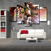 Image of Attack on Titan Eren And Captain Levi Survey Corps 3D Printed 5 Piece Wall Canvas