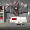 Image of Attack on Titan Mikasa Ackerman And Colossal Titan 3D Printed 5 Panel Wall Canvas