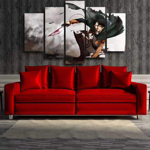 ATTACK ON TITAN - CAPTAIN LEVI GOD MODE 5 PANEL WALL CANVAS - 3D PRINTED CANVAS