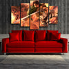 Image of Attack on Titan Eren Titan Form And Captain Levi 3D Printed 5 Piece Wall Canvas