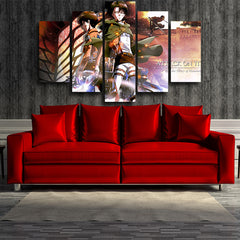 Attack on Titan Eren And Captain Levi Survey Corps 3D Printed 5 Piece Wall Canvas