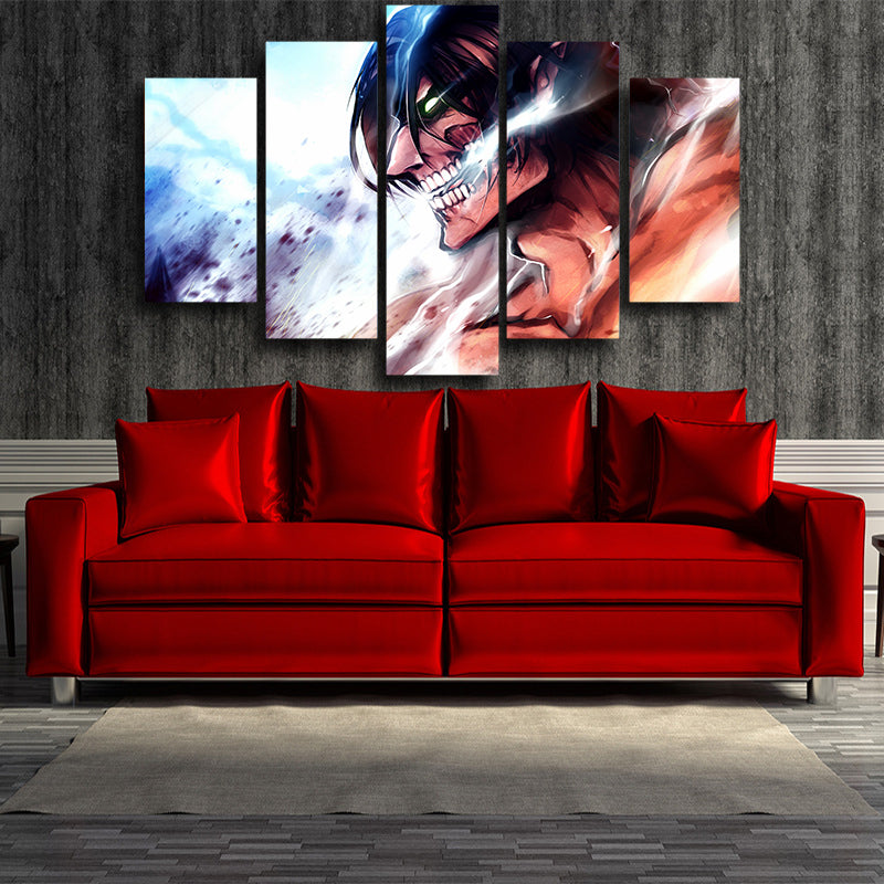 Attack on Titan Eren Titan Form 3D Printed 5 Piece Wall Canvas