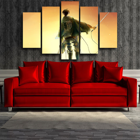 ATTACK ON TITAN - EREN 5 PANEL WALL CANVAS - 3D PRINTED CANVAS