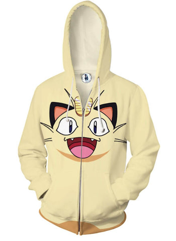 Pokemon Meow Zip Up Jackets - 3D White Armour Hoodie