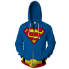 Image of Superman - 3D Printed Hoodie - Superman Logo Zip Up Jacket