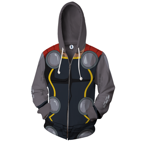 Thor The Dark World Anime Zip Up Jackets - 3D Black Armour Hoodie