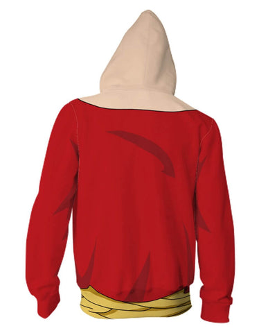 One Piece Anime Zip Up Jackets - 3D Red Armour Hoodie