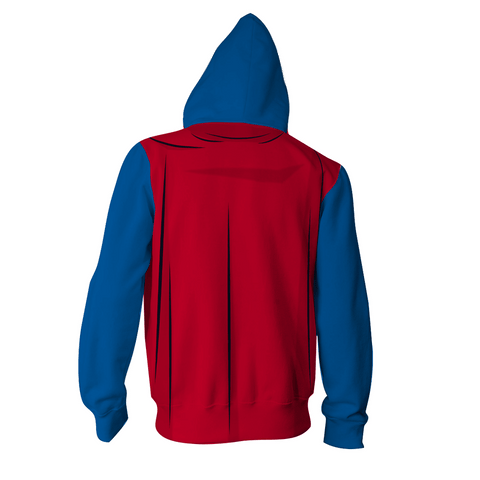 Superman - 3D Printed Hoodie - Superman Logo Zip Up Jacket
