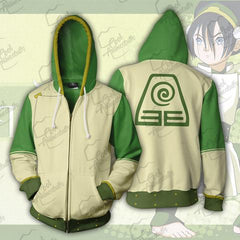 AVATAR THE LAST AIRBENDER HOODIE - TOPH ZIP UP HOODIE - GREEN 3D JACKET