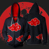 Image of AKATSUKI ZIP UP HOODIE BLACK COLOURED HOODIE - NARUTO SHIPPUDEN 3D PRINTED HOODIES AND SHIRTS