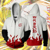 Image of 4TH HOKAGE MINATO NAMIZAKE WHITE ZIP UP HOODIE - NARUTO SHIPPUDEN HOODIES AND SHIRTS - ANIME HOODIES AND MORE