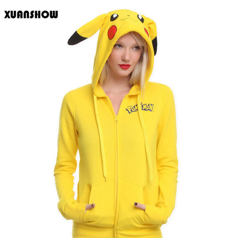 PIKACHU YELLOW COLOURED 3D PRINTED AWESOME FEMALE HOODIE - POKEMON CLOTHING - ANIME HOODIES AND SHIRTS