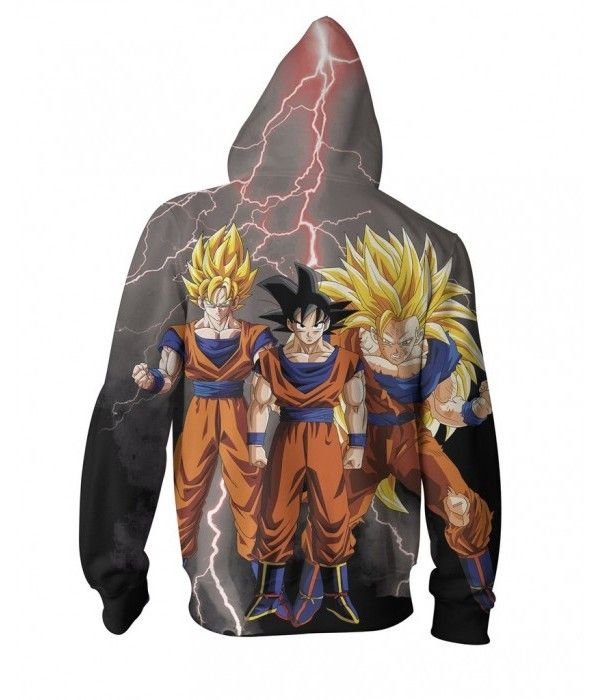 Goku Transformations 3D Printed Zip Up Hoodie