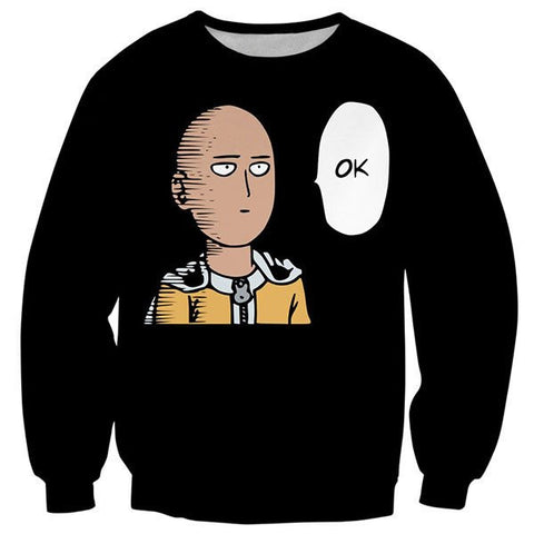 SAITAMA OK!! - 3D PRINTED BLACK COLOURED LONG SLEEVES SHIRT - ONE PUNCH MAN CLOTHING
