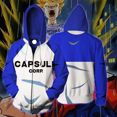 DBZ SUPER - FUTURE YOUNG TRUNKS CAPSULE CORP BLUE 3D HOODIE - ZIP UP HOODIE