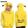 Image of PIKACHU YELLOW COLOURED 3D PRINTED AWESOME FEMALE HOODIE - POKEMON CLOTHING - ANIME HOODIES AND SHIRTS