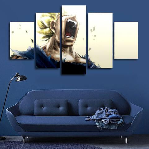 Dragon ball z super saiyan 5 piece canvas anime gears for Decoration murale dragon ball z