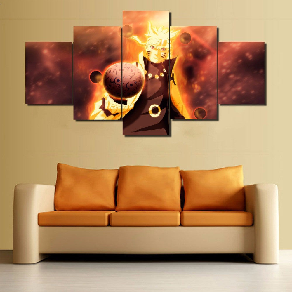 NARUTO - HOKAGE 5 PANEL WALL CANVAS - 3D PRINTED CANVAS – Anime Gears