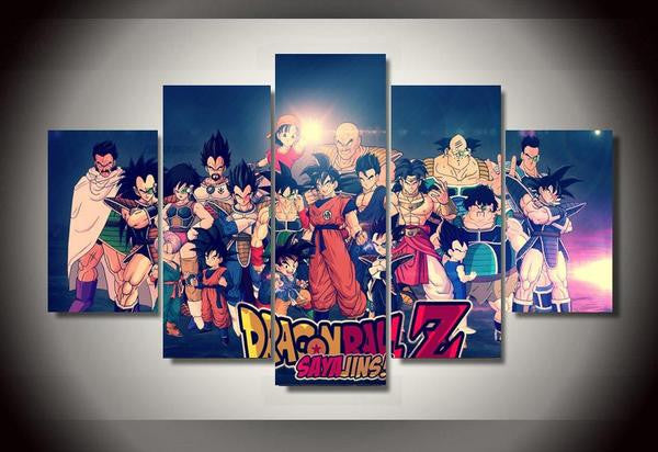 Dragon ball z characters group painting 5 panel canvas for Decoration murale dragon ball