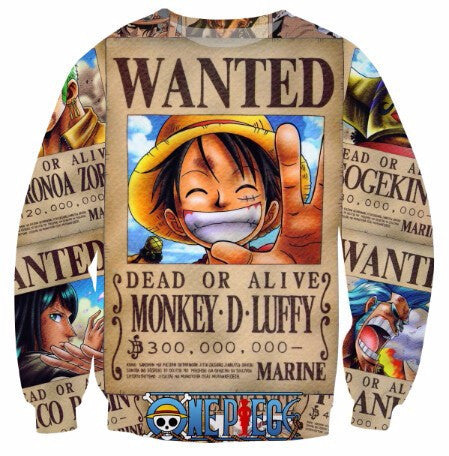 WANTED LUFFY LONG SLEEVES SHIRT - ANIME HOODIES AND SHIRTS
