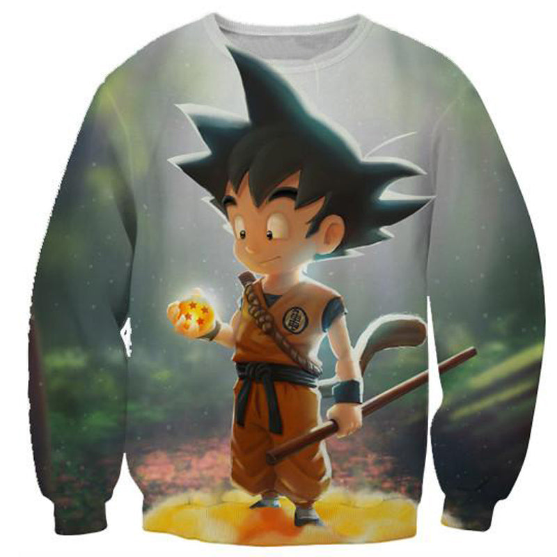 CUTE KID GOKU AND NIMBUS DRAGON BALL Z HOODIE - 3D PRINTED WHITE COLOURED HOODIE AND SHIRTS - DRAGON BALL SUPER CLOTHING