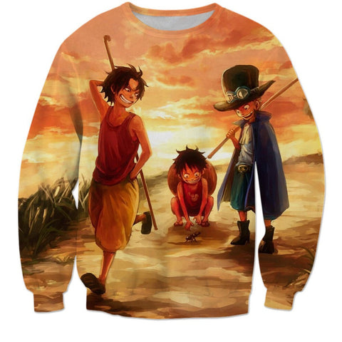 LUFFY ACE AND SABO 3D PRINTED LONG SLEEVES SHIRT - ANIME HOODIES AND SHIRTS