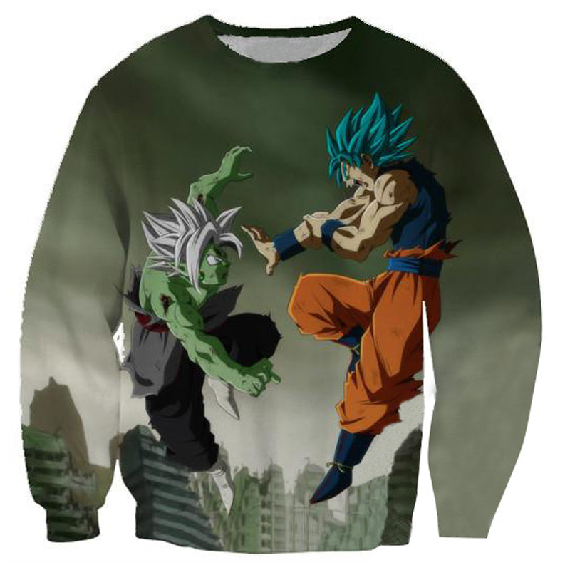 SSB GOKU VS FUZED ZAMASU - 3D PRINTED GREEN COLOURED ANIME HOODIE - DRAGON BALL SUPER CLOTHING
