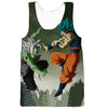 Image of SSB GOKU VS FUZED ZAMASU - 3D PRINTED GREEN COLOURED ANIME HOODIE - DRAGON BALL SUPER CLOTHING