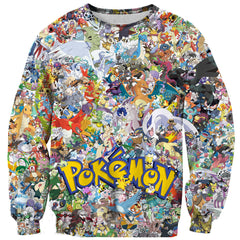 ALL POKEMONS 3D PRINTED LONG SLEEVE SHIRT - ANIME HOODIES AND SHIRTS