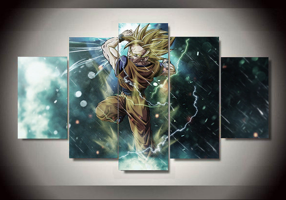 Dragon ball z goku ssj1 5 panel canvas 3d canvas for Dragon ball z living room
