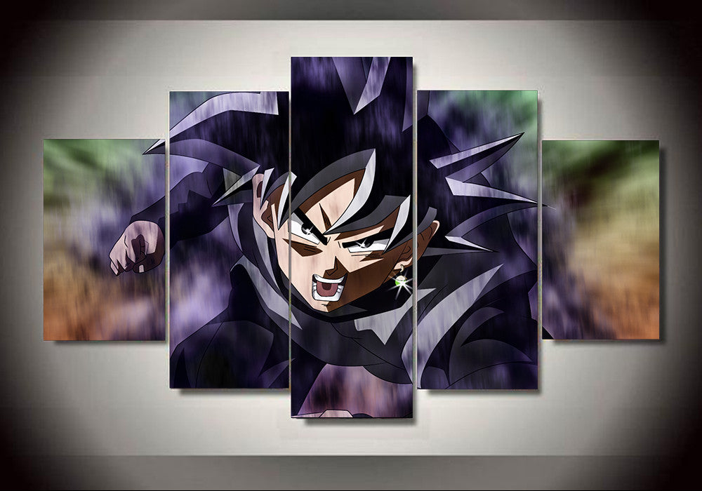 Dragon ball z black goku 5 panel canvas 3d canvas for Dragon ball z living room
