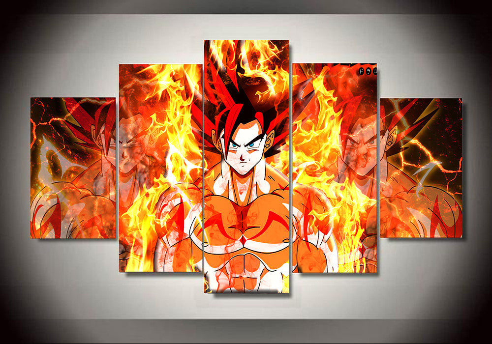 Dragon ball z goku ssj god red 5 panel canvas 3d for Dragon ball z living room