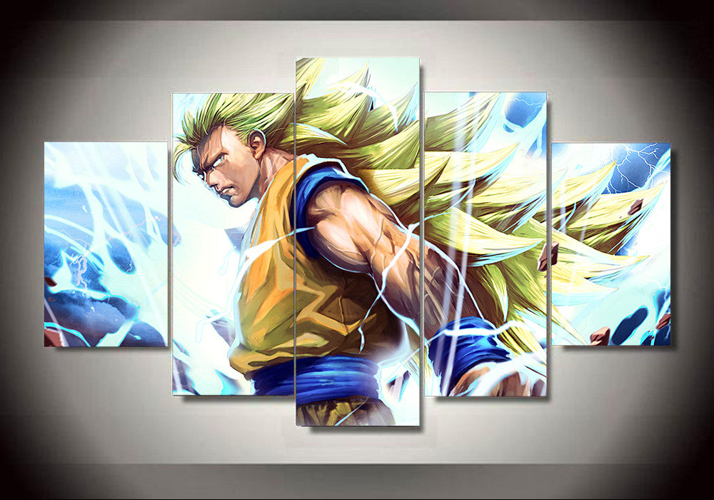 Dragon ball z goku ssj3 5 panel canvas 3d canvas for Dragon ball z living room