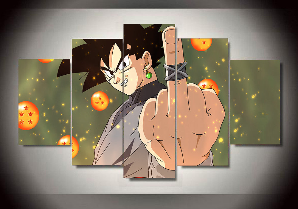 dragon ball z black goku thug life 5 panel canvas 3d On dragon ball z living room