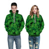 Image of Green Leaves Hoodies - 3D Printed Hoodies - Pullover Jacket