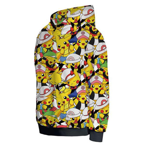 PIKACHU PRINTED HOODIE FOR POKEMON FANS - ANIME HOOIDE AND SHIRTS - POKEMON CLOTHNG