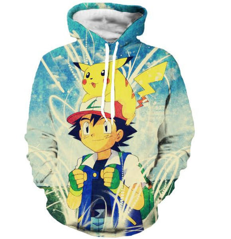 ASH AND PIKACHU HOODIE - POKEMON CLOTHING - ANIME HOODIES AND SHIRTS