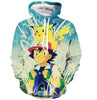 Image of ASH AND PIKACHU HOODIE - POKEMON CLOTHING - ANIME HOODIES AND SHIRTS